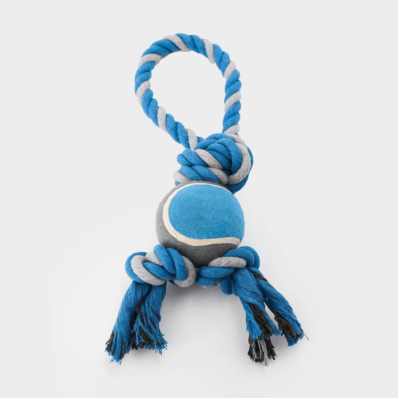 Blaues Nuts for Knots Spieltau mit Tennisball in der Größe L von Happy Pet