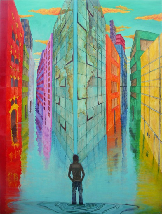 Drowning is an original surreal oil painting by Aalia Rahman