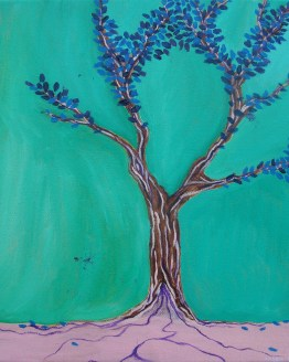 Branches of Happiness surreal oil painting by Aalia Rahman