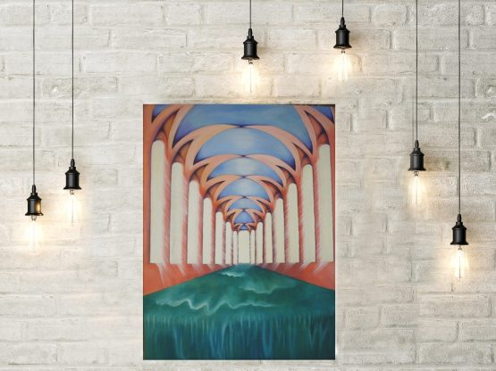 The flow hung on wall with lights