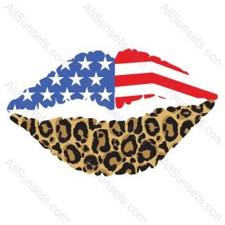 American Flag Leopard Print Female Lips