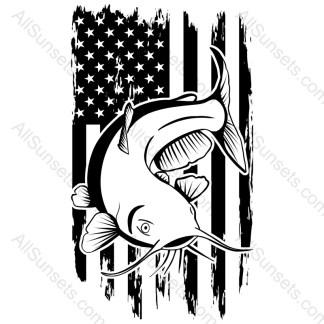 Catfish Fishing Grunge American Flag