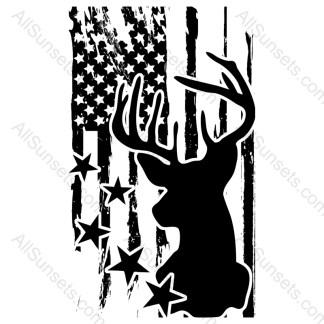 Deer Buck Head Stars American Flag