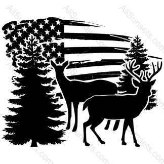 Deer Buck Doe Trees Grunge American Flag