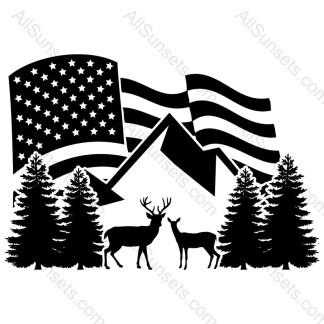 Deer Woods Mountain Scene American Flag