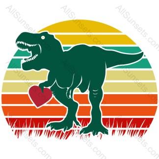 Dinosaur Heart Grass Cutout Retro Sunset