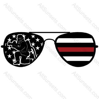 Fireman Red Line Sunglasses American Flag