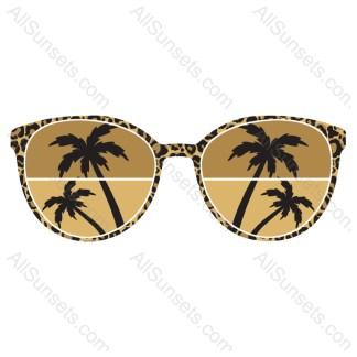 Leopard Palm Trees Sunglasses Vector