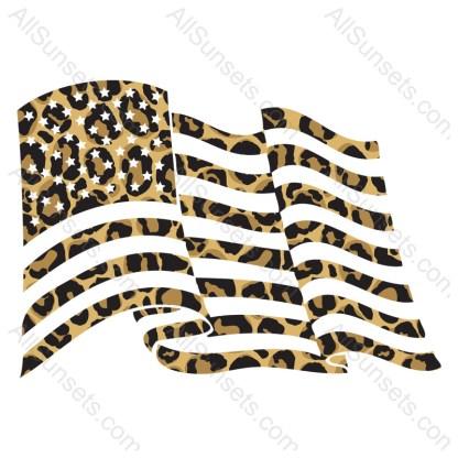 Leopard Print Waving American Flag