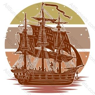 Merchant Ship Nautical Retro Sunset