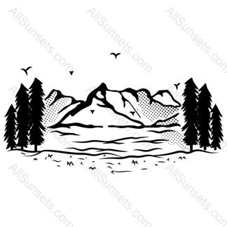 Mountain Lake Trees Birds Vector