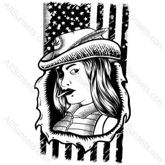 Pot Smoking Woman American Flag
