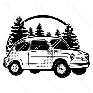 Classic Foreign Car Forest Scene