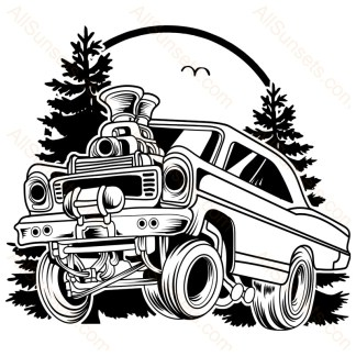 Classic Gasser Car Forest Scene