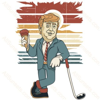 Donald Trump Golf Ice Cream Retro Sunset