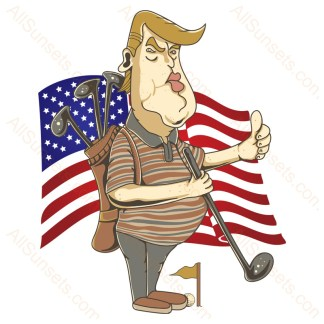 Donald Trump Golf Waving American Flag
