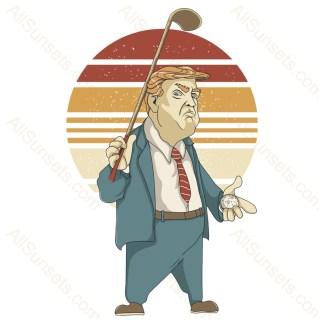 Donald Trump Golfer Retro Sunset