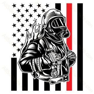 Fireman American Flag Thin Red Line