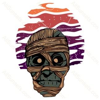Halloween Mummy Retro Sunset
