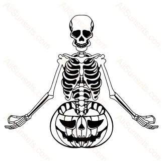 Halloween Skeleton Pumpkin Vector