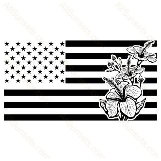 Hibiscus Flower Horizontal American Flag