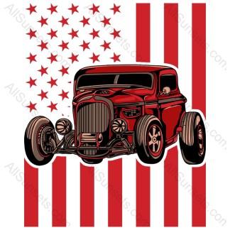Red Hotrod Car Red American Flag