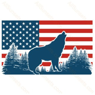 Howling Wolf Forest American Flag