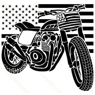 Patriotic Motorcycle Dirt Bike American Flag