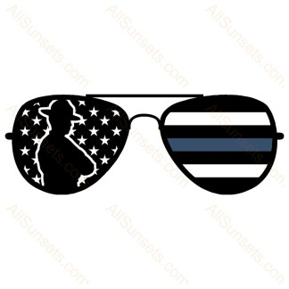 Police Thin Line Flag Sunglasses