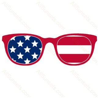Red Frame American Flag Sunglasses
