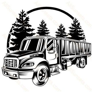 Semi Cargo Truck Forest Scene Vector
