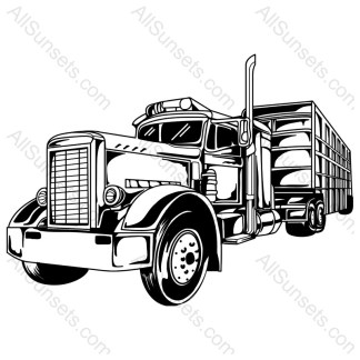 Semi Truck and Trailer Vector