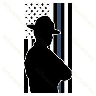 State Trooper Thin Blue Line American Flag