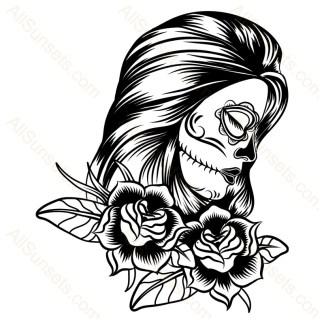 Sugar Skull Woman Roses Vector