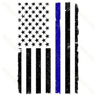Thin Blue Line Vertical American Flag