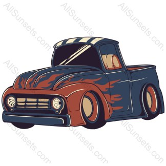 Vintage Pickup Truck With Flames