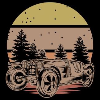 Vintage Race Car Retro Sunset