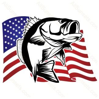 Waving American Flag Bass Fishing