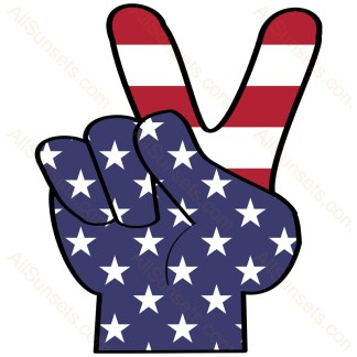 American Flag Peace Hand Sign PNG