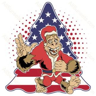 Bigfoot Santa Claus Christmas Tree American Flag