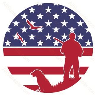 Bird Hunter Dog Round American Flag