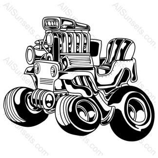 Cartoon Big Motor Wheels Trails Vehicle