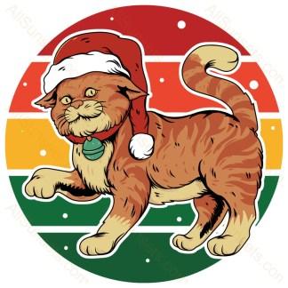 Cat In Santa Hat Christmas Retro Sunset