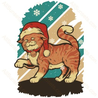 Cat Wearing Santa Hat Snowflake Sunset