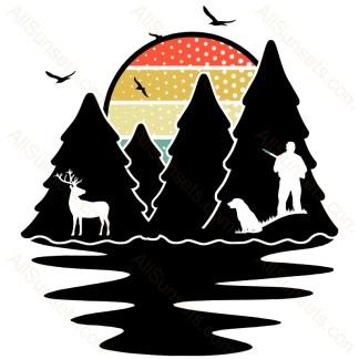 Evergreen Forest Hunter Deer Dog Sunset