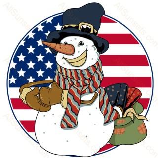 Happy Snowman Round American Flag
