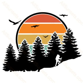 Hiking Forest Mountain Retro Sunset