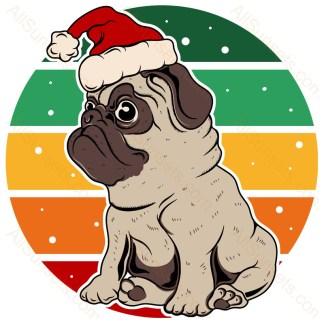 Pug Dog Santa Hat Christmas Retro Sunset