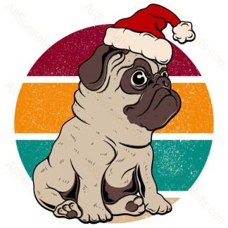 Santa Pug Dog Christmas Retro Sunset