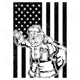 Santa Waving Single Color American Flag